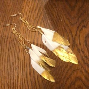 New Feather Earrings White With Gold Dip